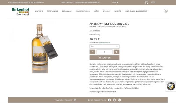 Birkenhof Distillery Online Shop: Tasteful product descriptions meet convincing web design.