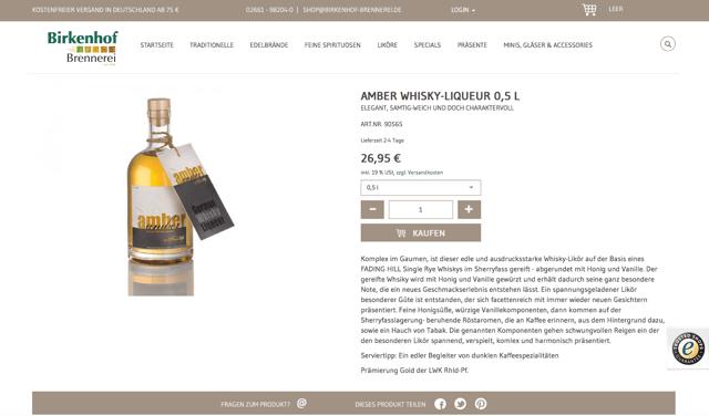 Birkenhof Brennerei Online-Shop: Geschmackvolle Produktbeschreibungen treffen auf überzeugendes Web-Design.