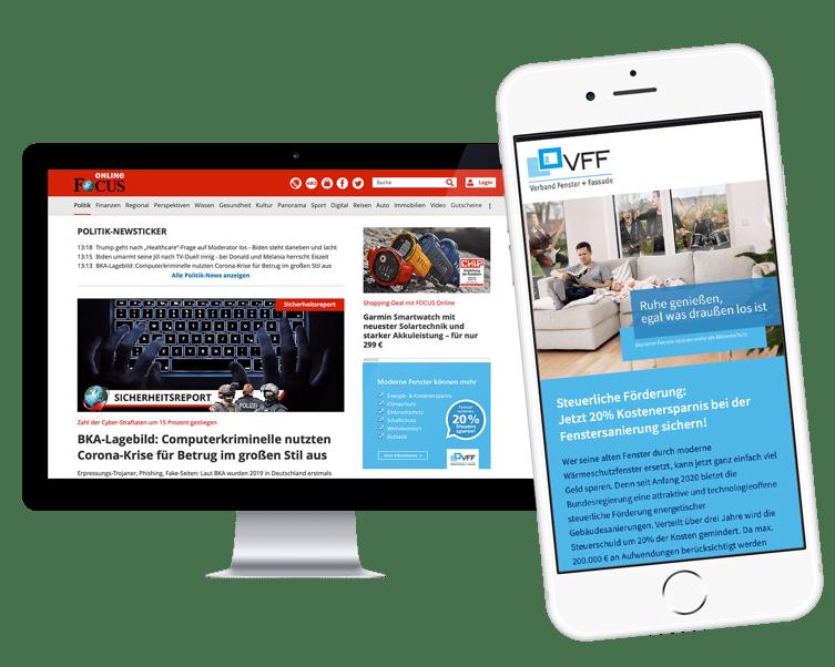 Google Display Ads leiten Nutzer direkt auf die Landing Page des VFF.