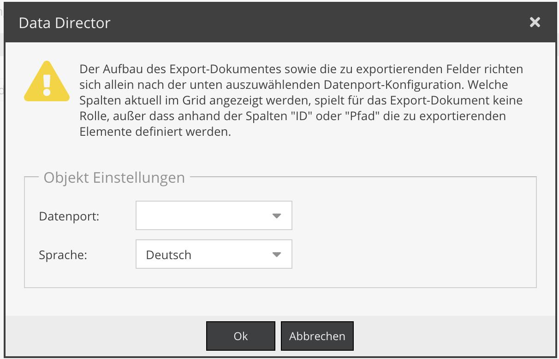 Dataport für den Export auswählen